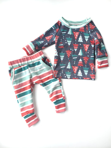 Christmas Trees & Stripes Crew & Pocket Jogger Set