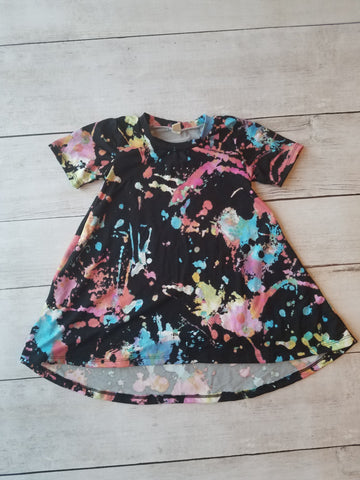 Black Paint Splatter Hi-Lo Dress