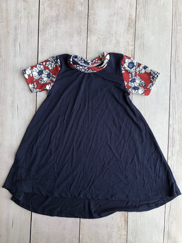 Rust & Navy Floral Hi-Lo Dress (Navy Body)