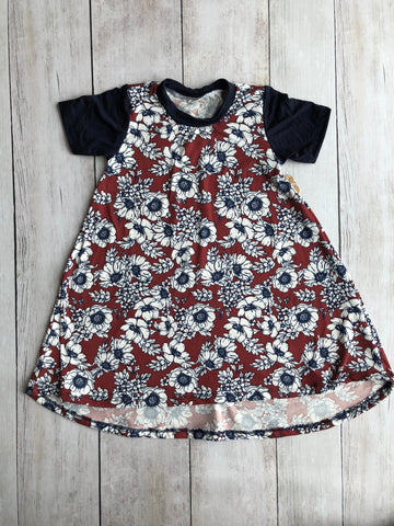 Rust & Navy Floral Hi-Lo Dress (Floral Body)