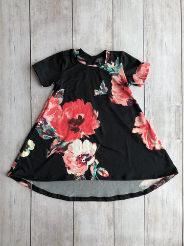 Black & Pink Floral Hi-Lo Dress
