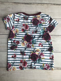 Burgundy Floral Knotted Tees
