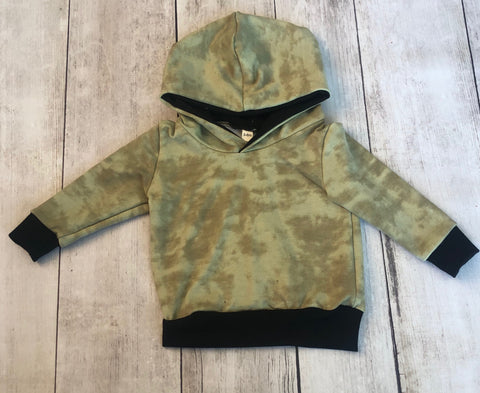 Olive Concrete Wash Hoodie