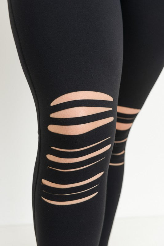 Highwaist Shredded Knee Laser-Cut Leggings