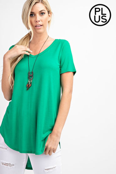 Short sleeve, loose fit hi-lo top with V-neckline