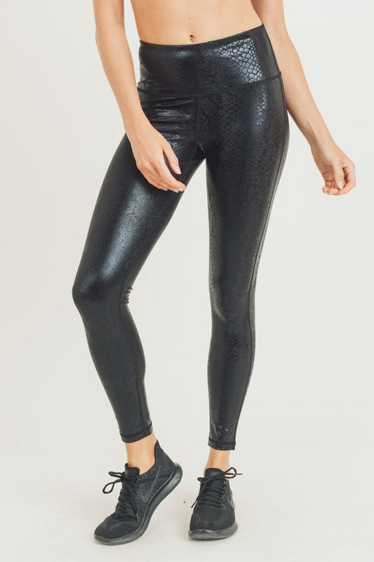 Black Nagini Snake Foil Print Leggings