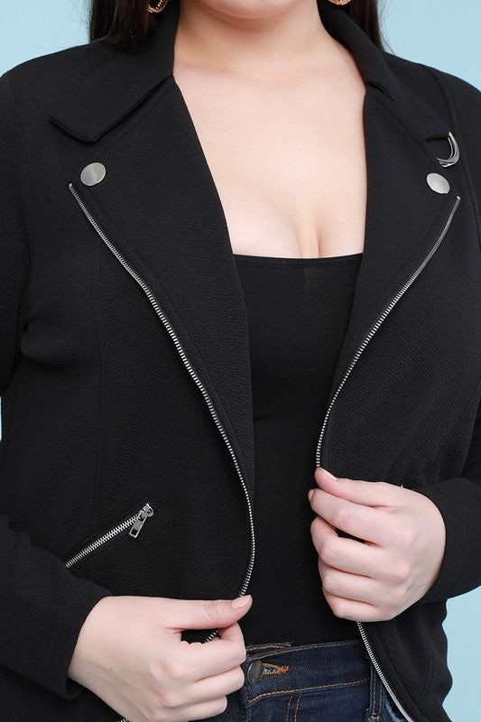 Open Front Zipper Trim Solid Blazer