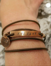 """BE PRESENT"" Leather Wrap Statement Bracelet"