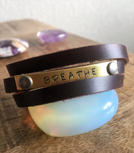 """BREATHE"" Inspirational Leather Wrap Diffuser Bracelet"