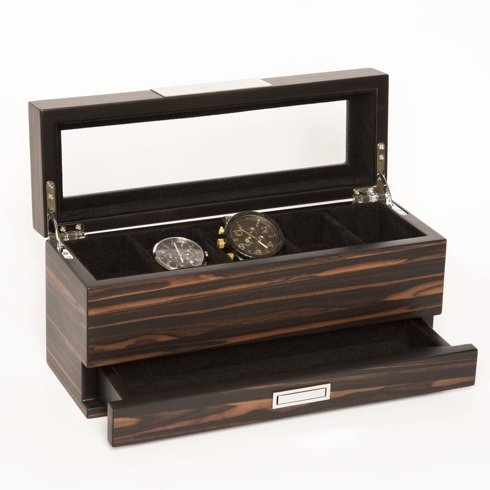 Matte Ebony 5-slot Watch Box & Jewelry Tray
