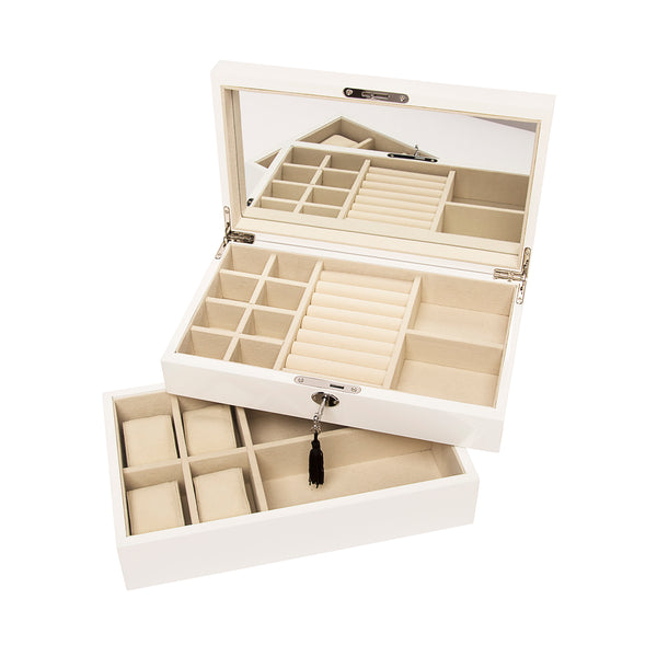 Stackable High-Gloss Jewelry Box - White