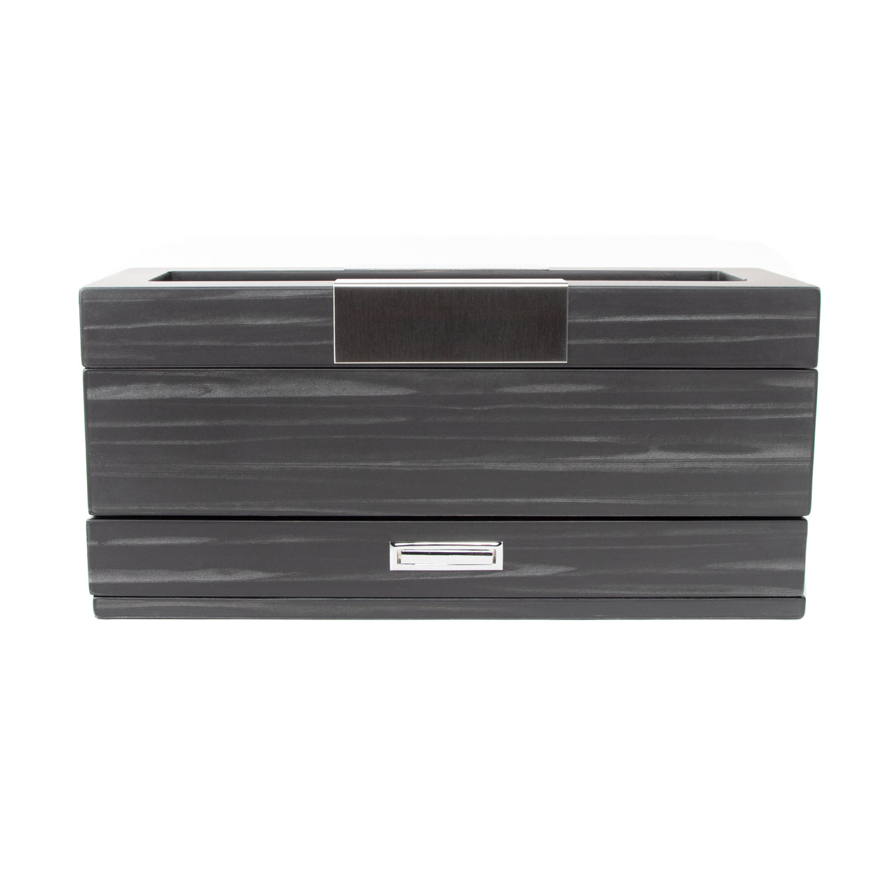 Matte Black 5-Slot Watch Box W/ Jewelry Tray