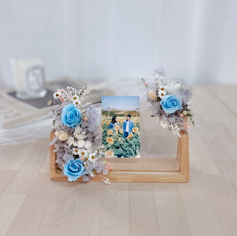 Preserved Flowers Photo Frame with Customised Family Photo - Blue