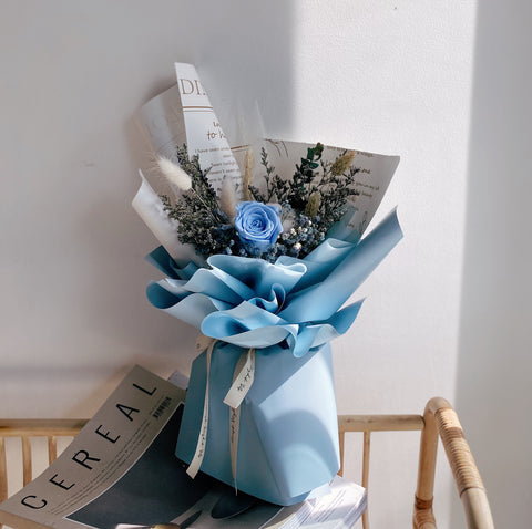 Everlasting Preserved Flower Bouquet with Blue Roses