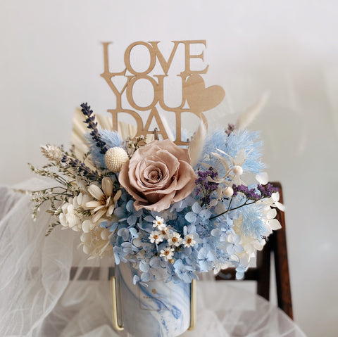 Everlasting Love - Blue Marble Jar with Preserved Flowers and Love You Dad Topper