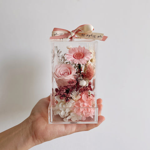 Candy Pink Blooming Cube with Pretty Preserved Flowers