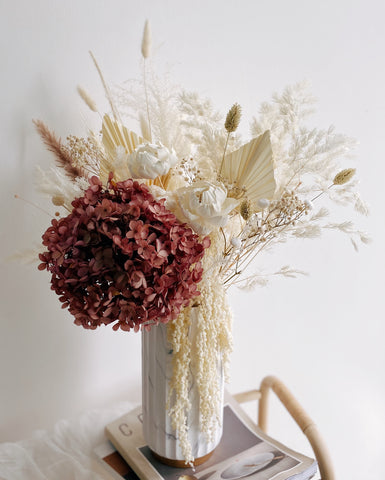 Everlasting Preserved Flowers Marble Vase Arrangement - Best Gift for Father's Day
