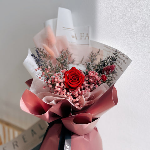 Pretty Red Rose Dried Flower Bouquet by First Sight SG Best Florist
