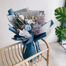 Everlasting Flower Bouquet with Blue Preserved Rose and Hydrangea in Blue Wrapping - First Sight SG Best Flower Delivery