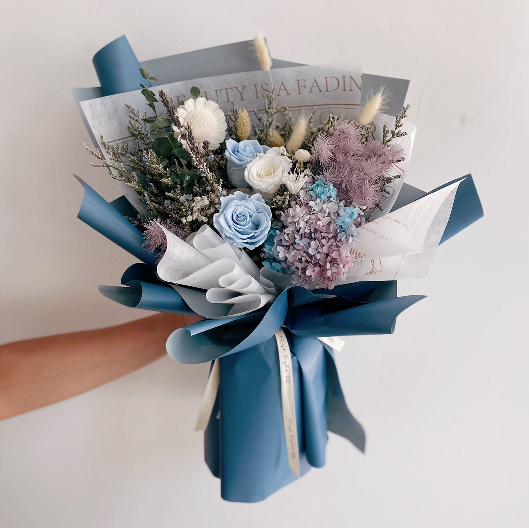 Blue Preserved Rose and Hydrangea Flower Bouquet with Baby Breath - Everlasting Love Bouquet by First Sight SG Best Florist