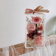 Candy Pink Preserved Flowers Bloom Box in a Cube - Singapore first bloom box in a Cube - First Sight SG