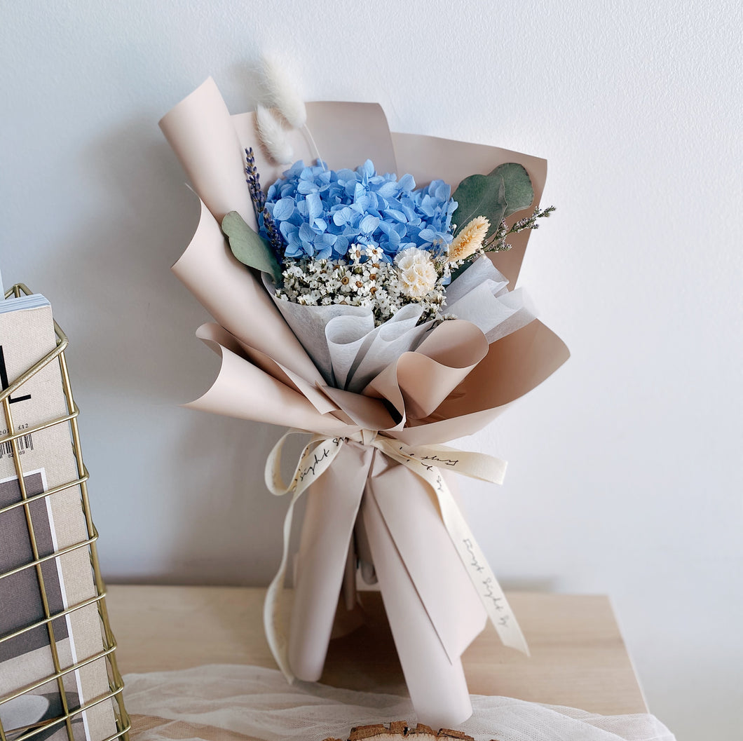 Everlasting Love (Preserved Hydrangea - Sky) - First Sight Singapore: Best Florist in SG
