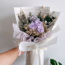 Beautiful Lilac Preserved Flower Bouquet with Roses by First Sight SG