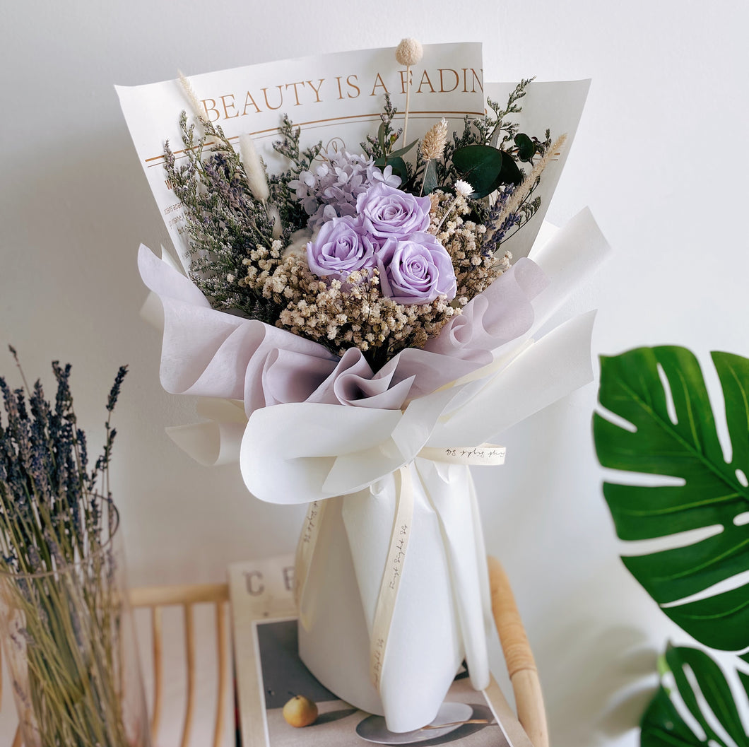 Lilac Preserved Flower Bouquet with Roses, Hydrangea and Baby Breath by First Sight SG