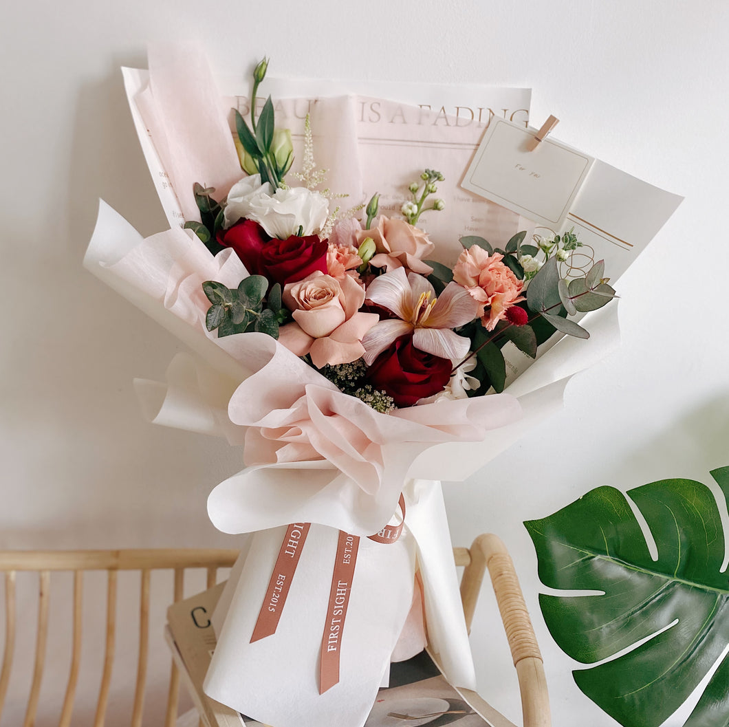 Mother's Day Flower Bouquet Delivery 2021 Collection - Fresh Flower Bouquet with Pink Carnation, Roses, Tulips and Mixed Garden Flowers