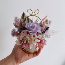Lilac Preserved Rose with Hydrangea and Mixed Preserved Flowers in Pastel Porcelain Love Jar
