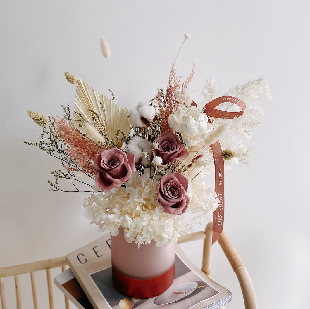 Beautiful Preserved Flowers Arrangement in Rose Gold Vase