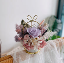 Purple Preserved Rose with Hydrangea and Mixed Preserved Flowers in Pastel Porcelain Love Vase