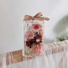 Singapore first Preserved Flower Bloom Box in a Cube Gift with Candy Pink Rose and Hydrangea - First Sight SG
