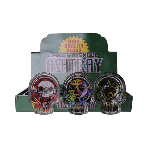 Skull Glass Ashtray 6ct SA0266