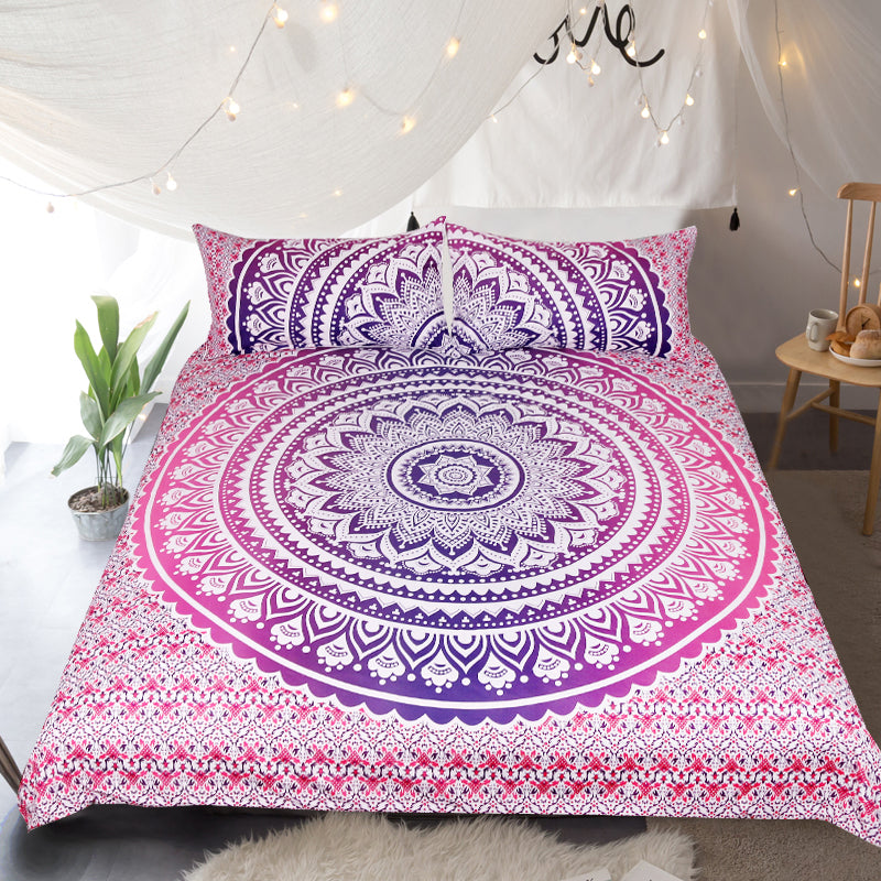 Pink Ombre Quilt Cover Set - Bohemian Vibes Australia
