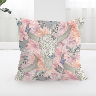 Floral Bull Skull Square Cushion Cover