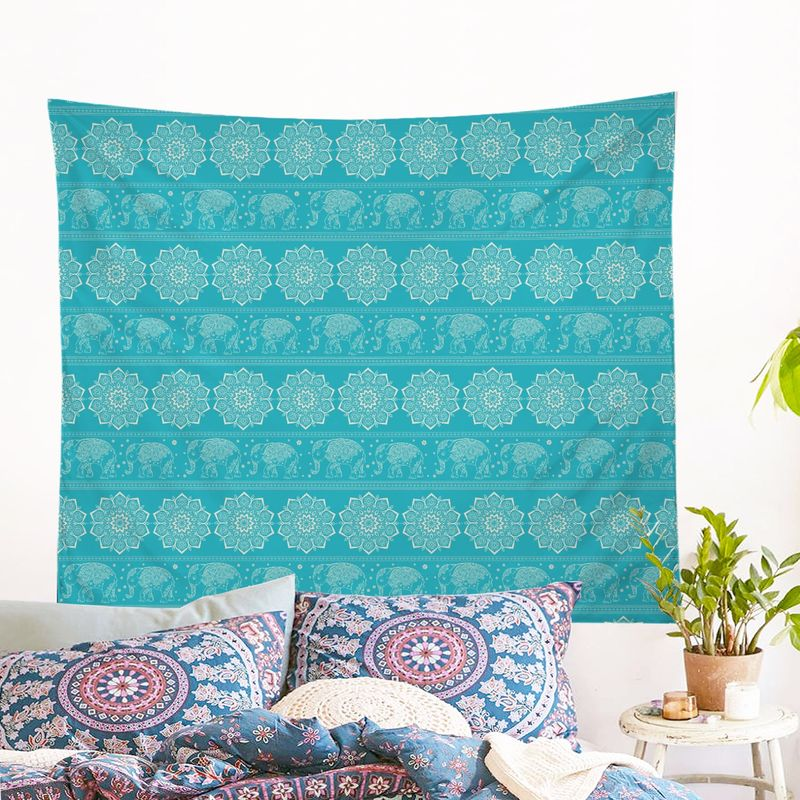 Turquoise Elephant Wall Tapestry