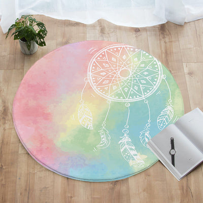 Rainbow Bohemian Dreams Round Floor Mat