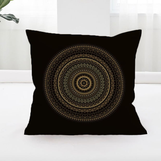 Black & Gold Mandala Cushion Cover
