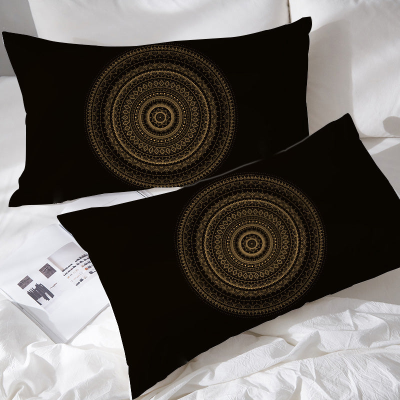Black & Gold Mandala Pillowcases - Bohemian Vibes Australia