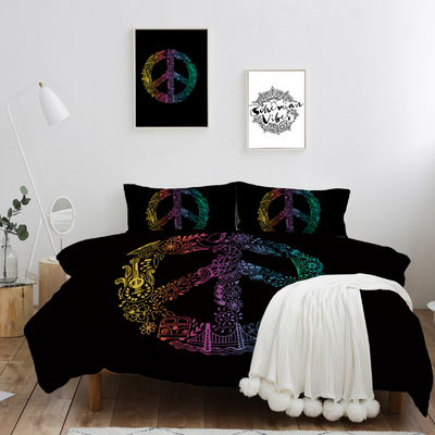 Hippie Peace Quilt Cover Set