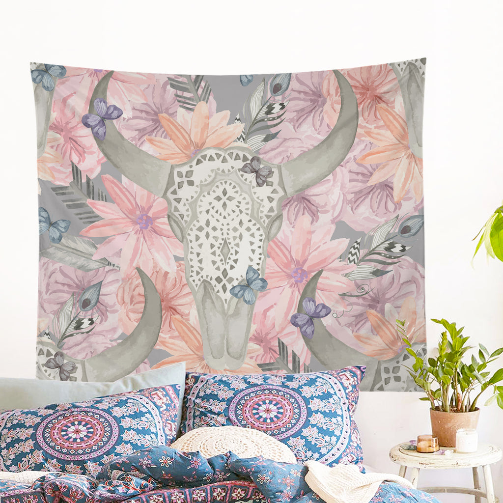 Floral Bull Skull Tapestry Wall Hanging (PRE-ORDER)