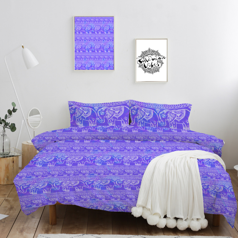 Purple Elephant Quilt Cover Set - Bohemian Vibes Australia