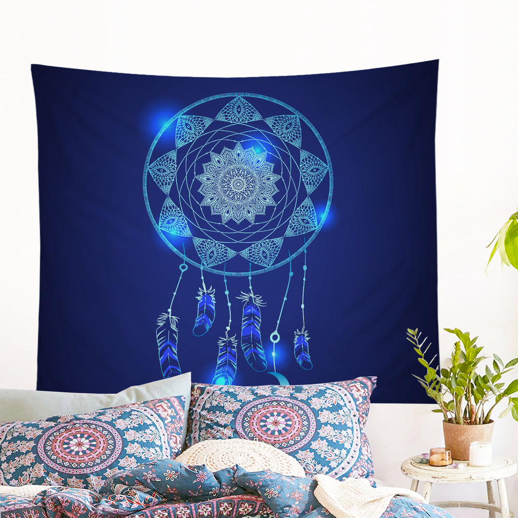 Blue Dreamcatcher Wall Tapestry - Bohemian Vibes Australia
