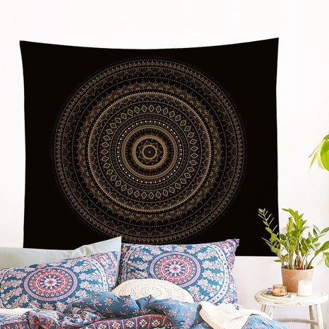 Black & Gold Mandala Wall Tapestry
