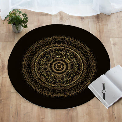 Black & Gold Mandala Round Floor Mat
