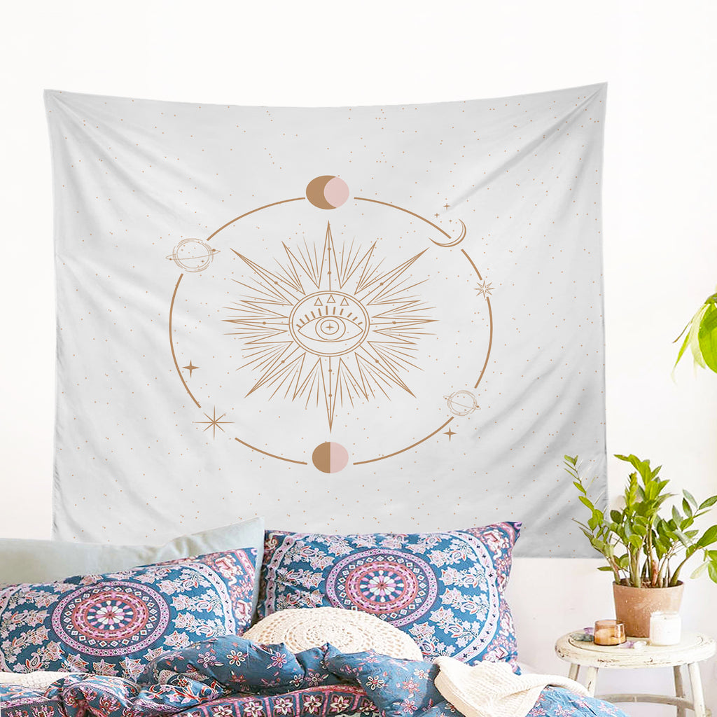 Minds Eye - White Wall Tapestry - Bohemian Vibes Australia