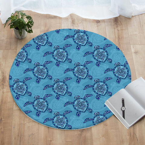 Sea Turtle Round Floor Mat