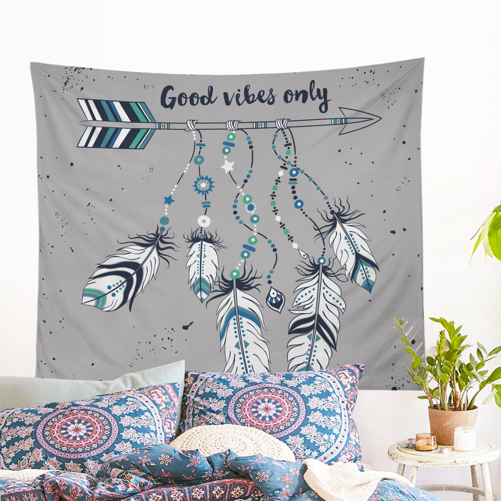 Good Vibes Only Blue Wall Tapestry - Bohemian Vibes Australia