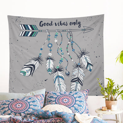 Good Vibes Only Blue Wall Tapestry